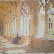 005: Cloister at Cadouin, Dordogne (watercolour), 32 x 42cm, framed, £350