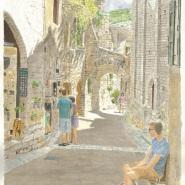 003: St Guilhem le Desert street scene (watercolour), framed, 41.5cm x 28.5cm, £350