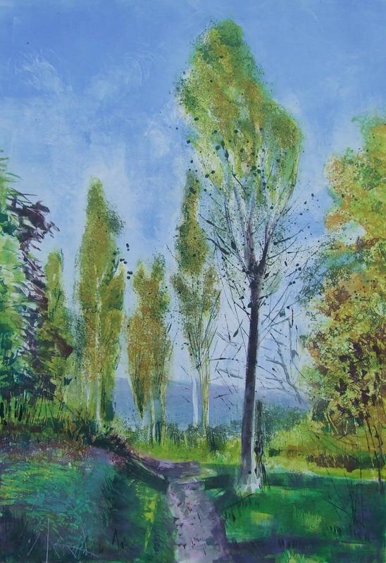 Averillo A walk through the Poplar trees. Mono print. 61x41cm. £395