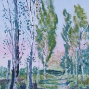 004: Sissinghurst poplars (mono print), 61 x 41cm, £395