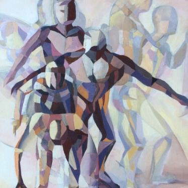 002: The athlete (oil), 50 x 60cm, framed, £700