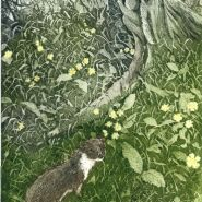 003: Spring mischief (etching with watercolour), 35 x 17.5cm, unframed, £82