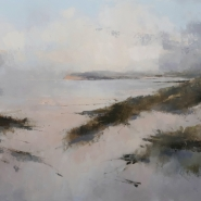 004: Calm water at Camber (oil on canvas), 61 x 91cm, framed, £950