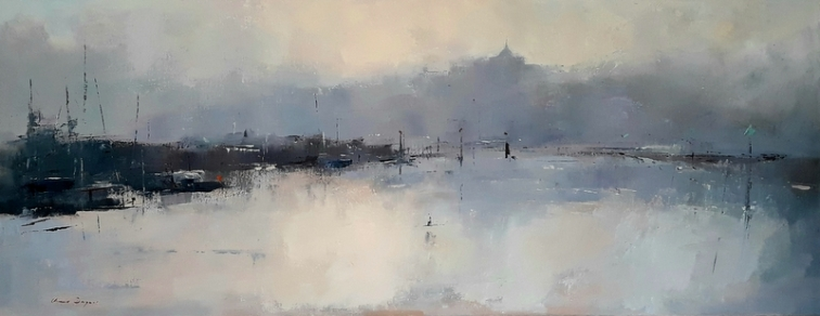 Daynes - Rye town, evening Oil on canvas, unframed 36x100 cm £795