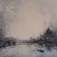 002: Towards Cannon Street station (oil on board), 28 x 38cm, framed, £550
