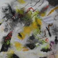 003: The music of mayhem (acrylic and gesso), image 37.5cm x 36.5cm, framed 62.5 x 61.5cm, £650