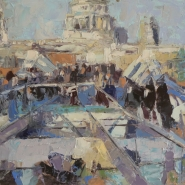 004: Millenium bridge (oil), 21 x 30cm, unframed £360, framed £400