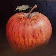 004: Red striped apple (oil on canvas), 25 x 25cm, £375