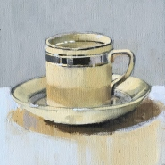 004: Coffee cup (oil on canvas), 22 x 27cm, unframed, £120