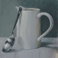 003: Jug and spoon (oil on canvas), 38 x 46cm, framed, £260