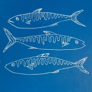 Mackerel – linoprint - print size approx 25x25cm - price: £70