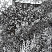 003: Rose garden Sissinghurst (wood engraving), 125 x 175mm, £80