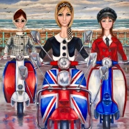 003: 1965. The darling mods of May (oil on linen), 76 x 76cm, unframed, £1500