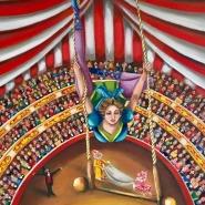 005: 1890, The trapeze artist (oil on linen), 35 x 30cm, unframed, £350