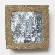 003: Fragility (emulsion on galvanised steel with with drawing scratch into surface encased in concrete), 25 x 25cm, £250