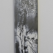 004: Single silver birch (emulsion on stainless steel with drawing scratched into surface), 15 x 75cm, £300