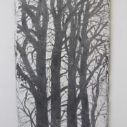 005: Rough oak III (emulsion on slate with drawing scratched into surface), 40 x 70cm, £600