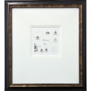 003: Study of a bumble bee 028 (graphite and gold powder), 39 x 35cm, framed, £495