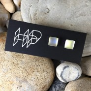 004: Glow square stud earrings (dichroic glass), 8 x 8mm, £28