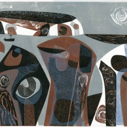 002: Three sentinels, edition of 60 (linocut print, 40 x 50cm, unframed £210
