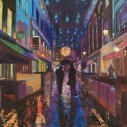 005: Carnaby Street blues (oil on linen), 40 x 75cm, unframed, £1450
