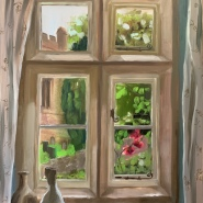 SOLD: She waits by the window (oil on board), 43 x 33cm, framed, £160