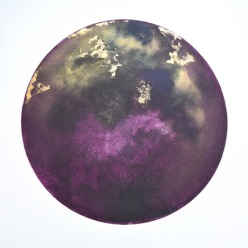 Purple Moon 50cm x 70cm unique etching with gold dust £395 U/F £450 framed