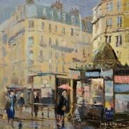 004: Morning rain, cinquieme arrondissement (oil), 20 x 20cm, unframed, £350