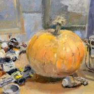 005: October still life in the studio (oil), 20 x 30cm, unframed, £400