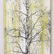 004: Golden (acrylic and emulsion on corrugated iron with drawing scratched into surface), 30 x 60cm, £300